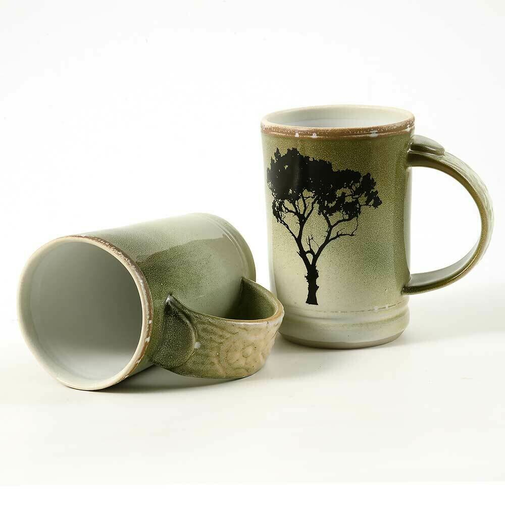 Mug - Set of Two Demi-size with Tree Motif. Feathered
