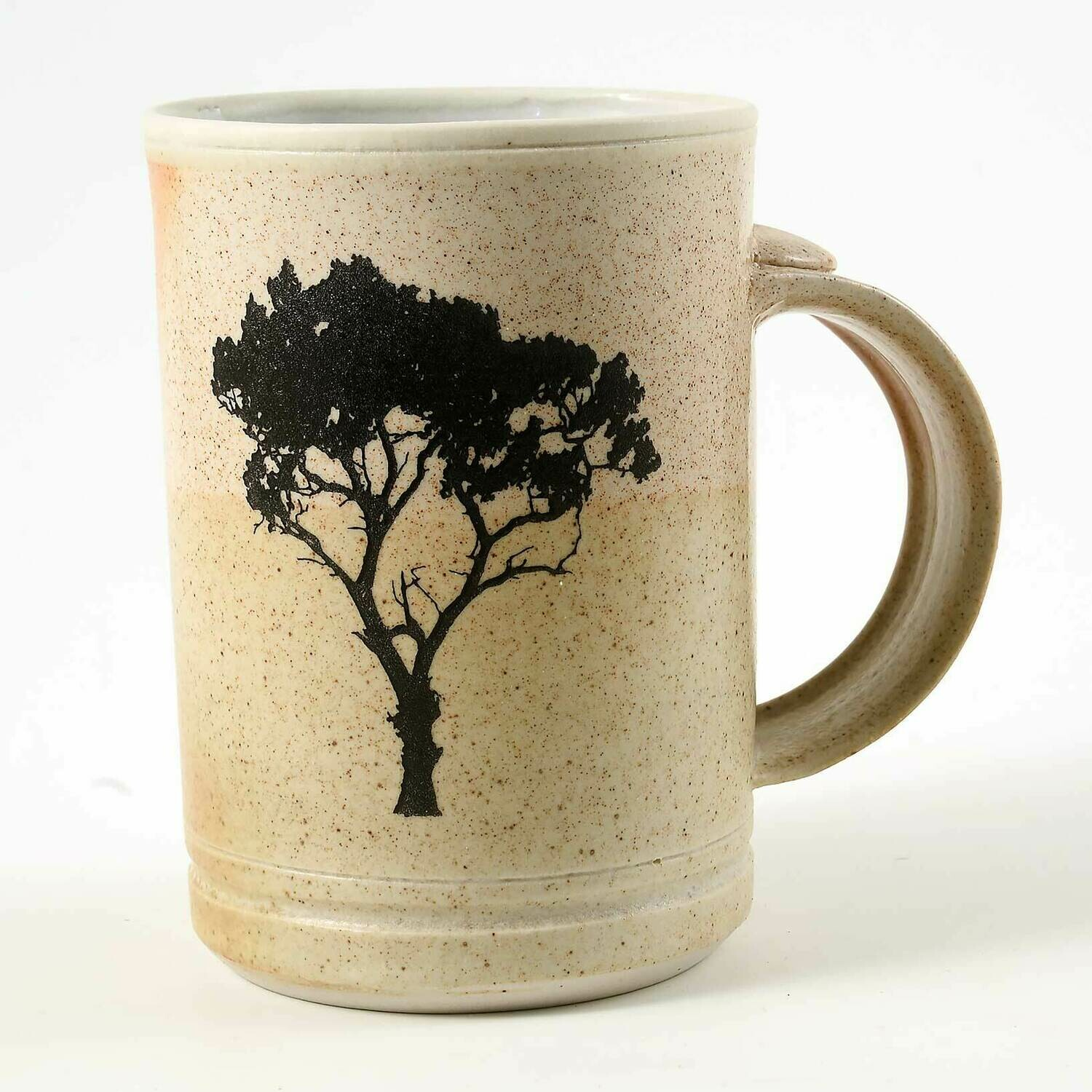Mug - Tree silhouette fired into the glaze Porcelain