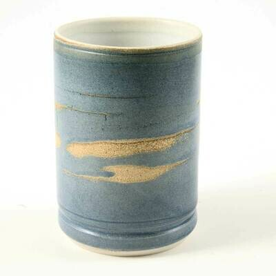 Cup - Baby blue with irregular spiral details, Porcelain perfect for hot or cold drinks.