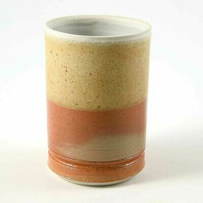 Cup - Speckled creme and Orange, Porcelain perfect for hot or cold drinks.
