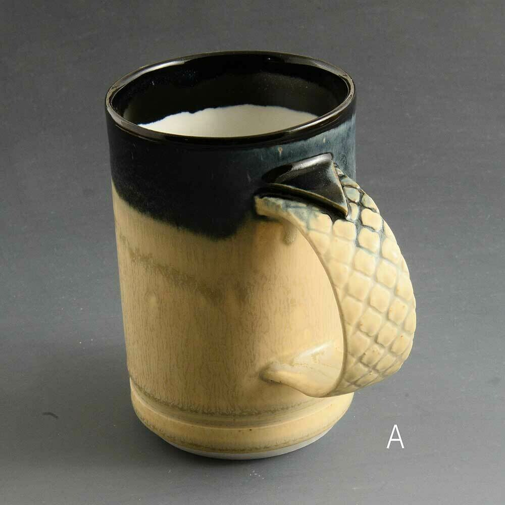 Mug - Dark top mug with criscrossed handle detail. Porcelain
