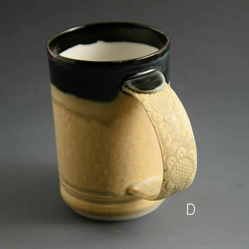 Mug - Dark top mug with lace-textured handle Porcelain