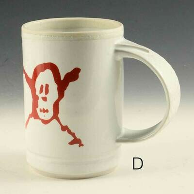 Mug - Pirate Graphic -  Red on White  -  Only one avail. Porcelain