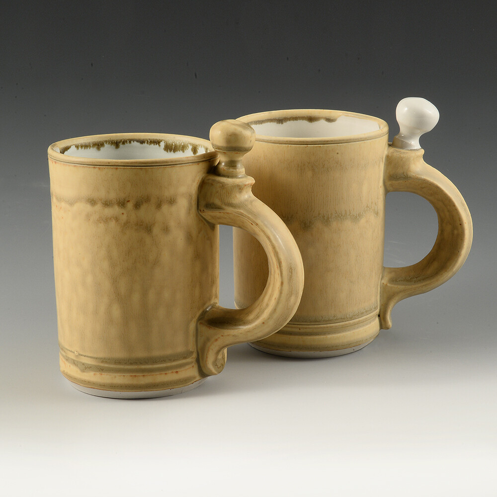 Mug - Knobsters! Unique Knob Handles. Cascading Gold Colors. A mug like no one elses. Porcelain