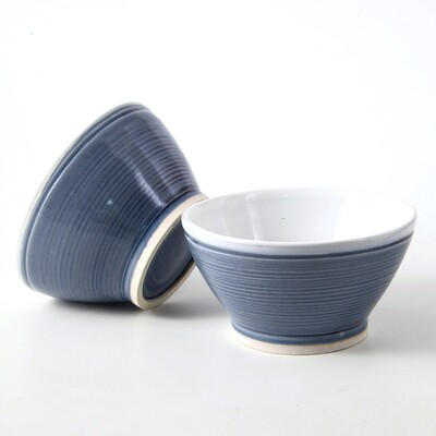 Bowls - 2 Piece set Transparent Blue with tinges of purple, Porcelain