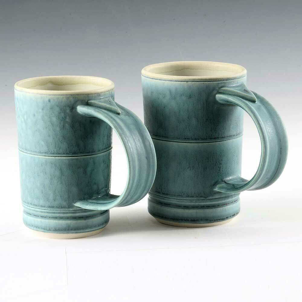 Mug - Turquoise Demi Mug Set. Porcelain. One-of-a-kind set. Great for Coffee or Juice!
