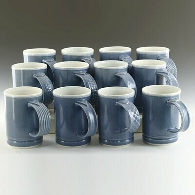 Mug - BLUES! A Series of blue mugs with unique handles. Porcelain Clay
