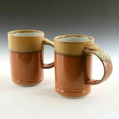 Mug - Two toned, gold and Orange. Designer Colors in Hand Made Porcelain