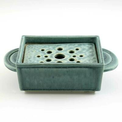 Soap Dish - Turquoise. removable strainer
