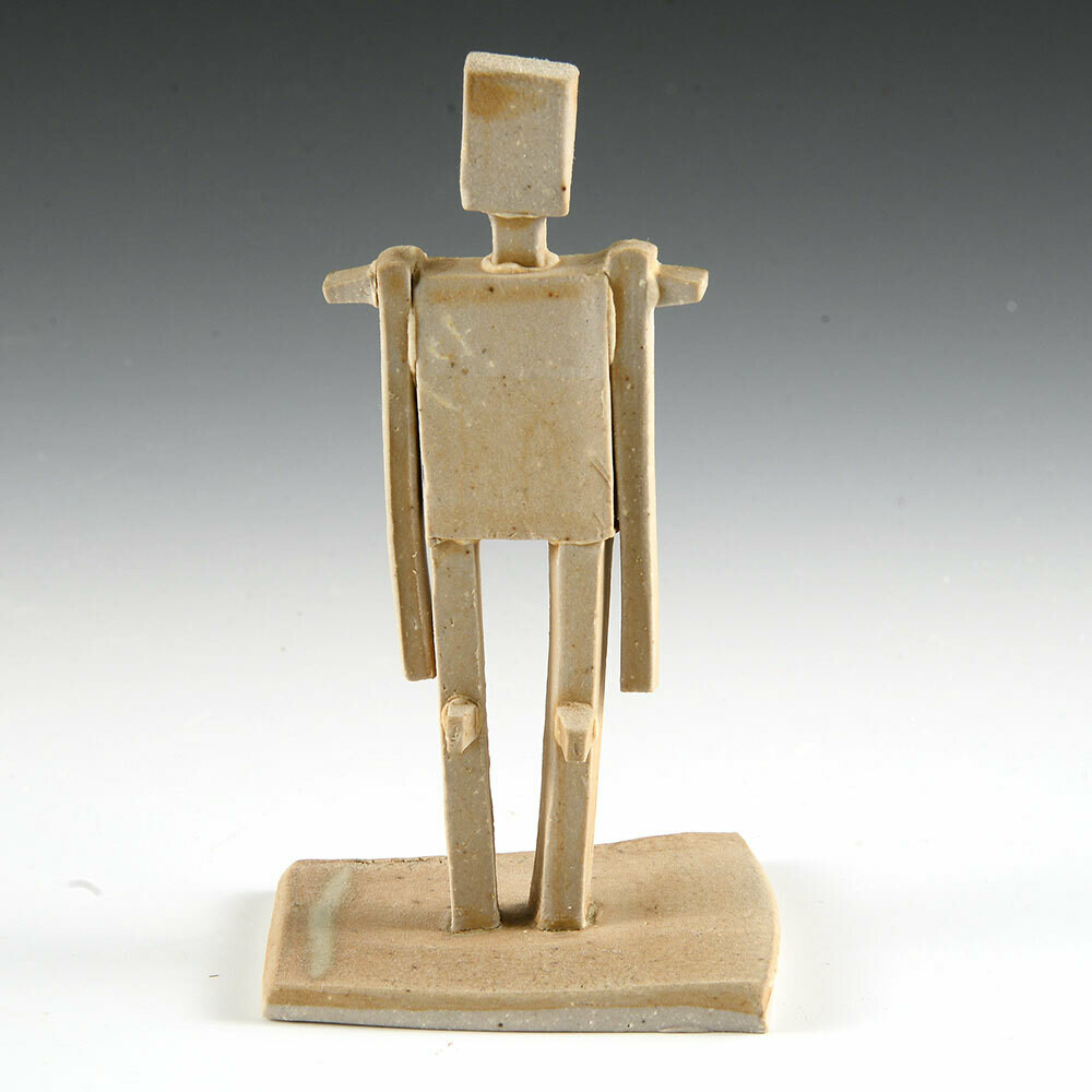 Standing Figure. One of a kind little sculpture. Unglazed stoneware. 4