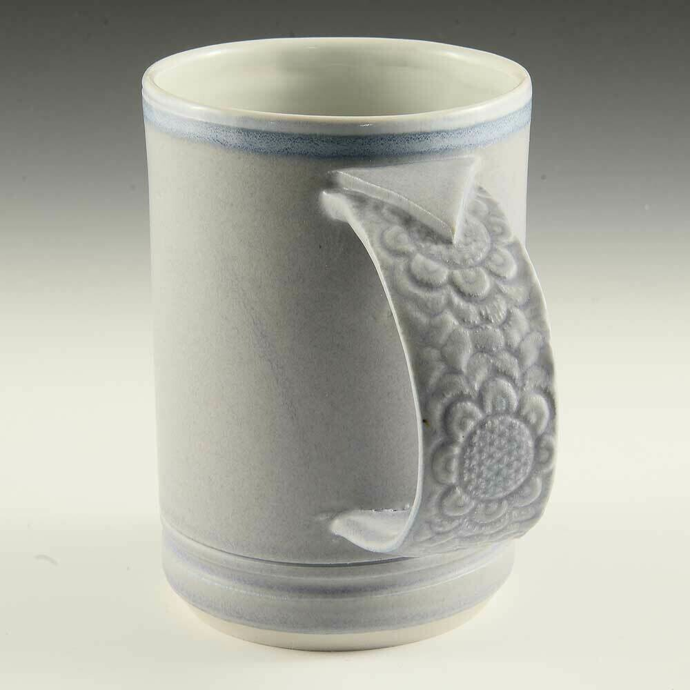 Mug - Beautiful, Soft-Satin Lavender with textured Porcelain handle!