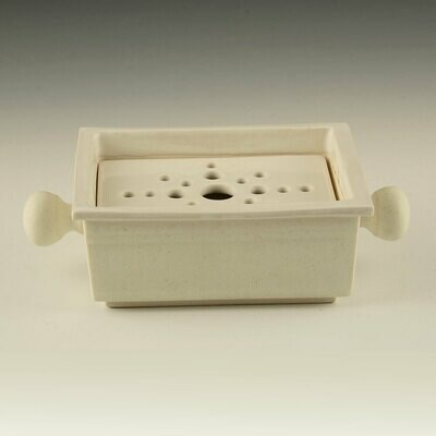 Soap Dish - Butter Milk White. removable strainer