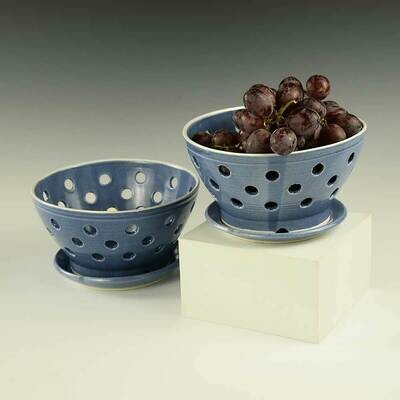 Berry Bowl - includes matching plate, Rich Blue Colors - Porcelain