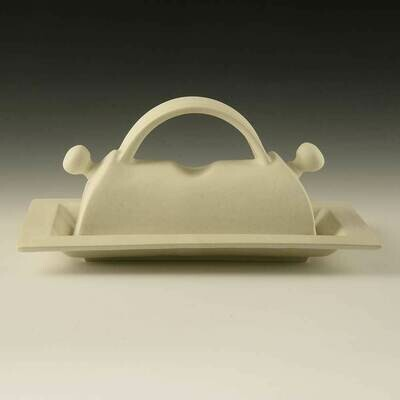 Butter Dish - Large Size handles more butter!, Arc handle. Porcelain