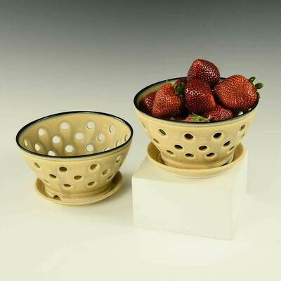 Berry Bowl - includes matching plate, Satin Bamboo Colors - Porcelain