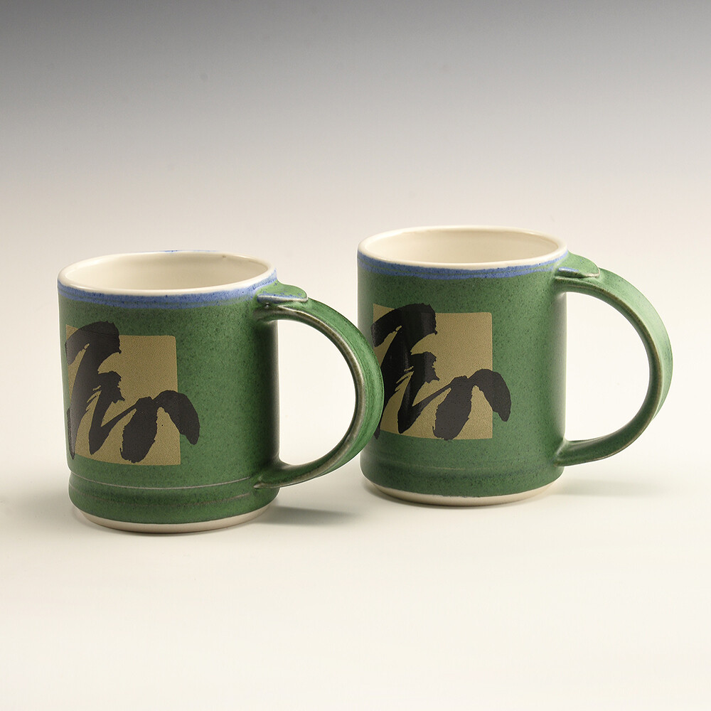 Mug Set - Green satin finish with
