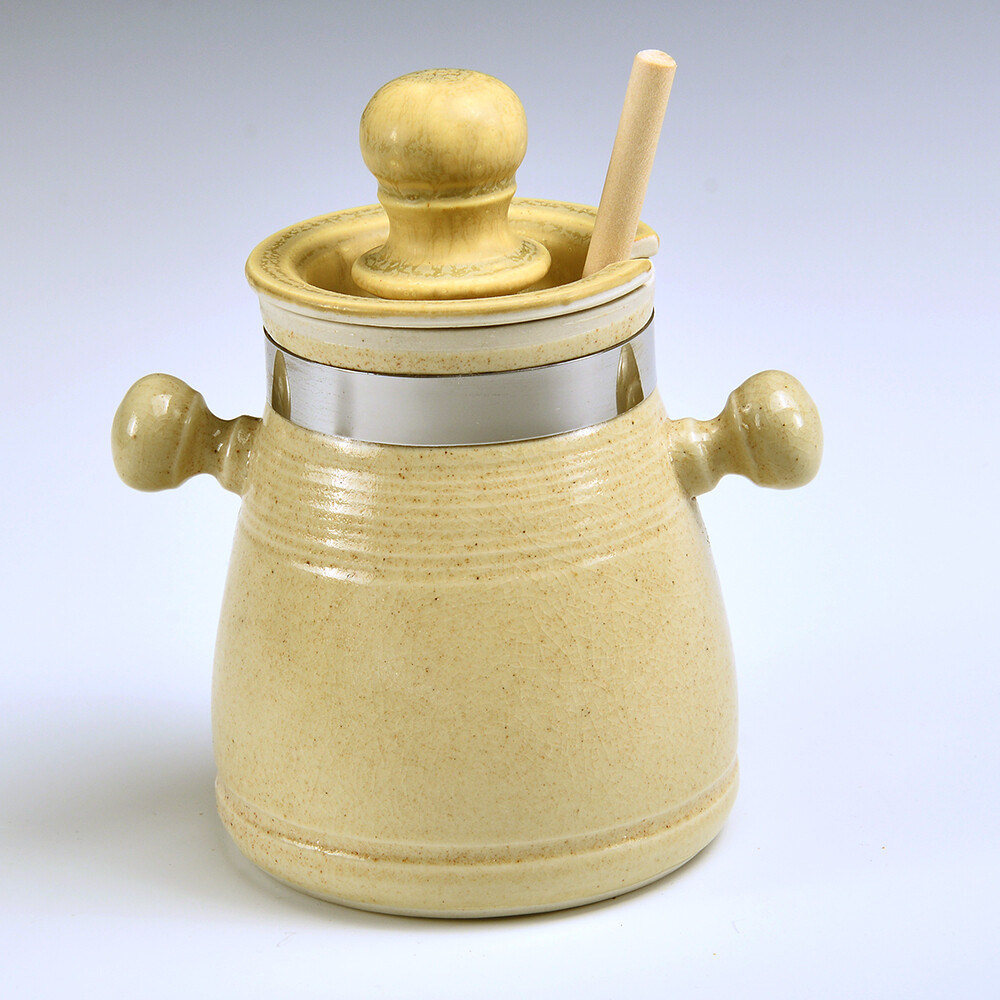 Honey/Sugar Jars with stainless detailing and free spoon or honey sticks