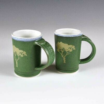 Demi-size Tree Mugs with Beautiful Rustic Green colors. Porcelain with our custom-designed