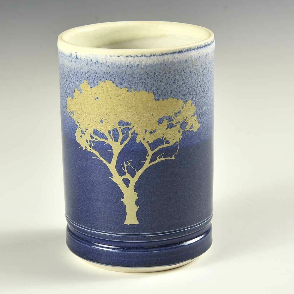 Cup - Tree Graphic. Porcelain clay. One of a kind. Works well with hot liquids.