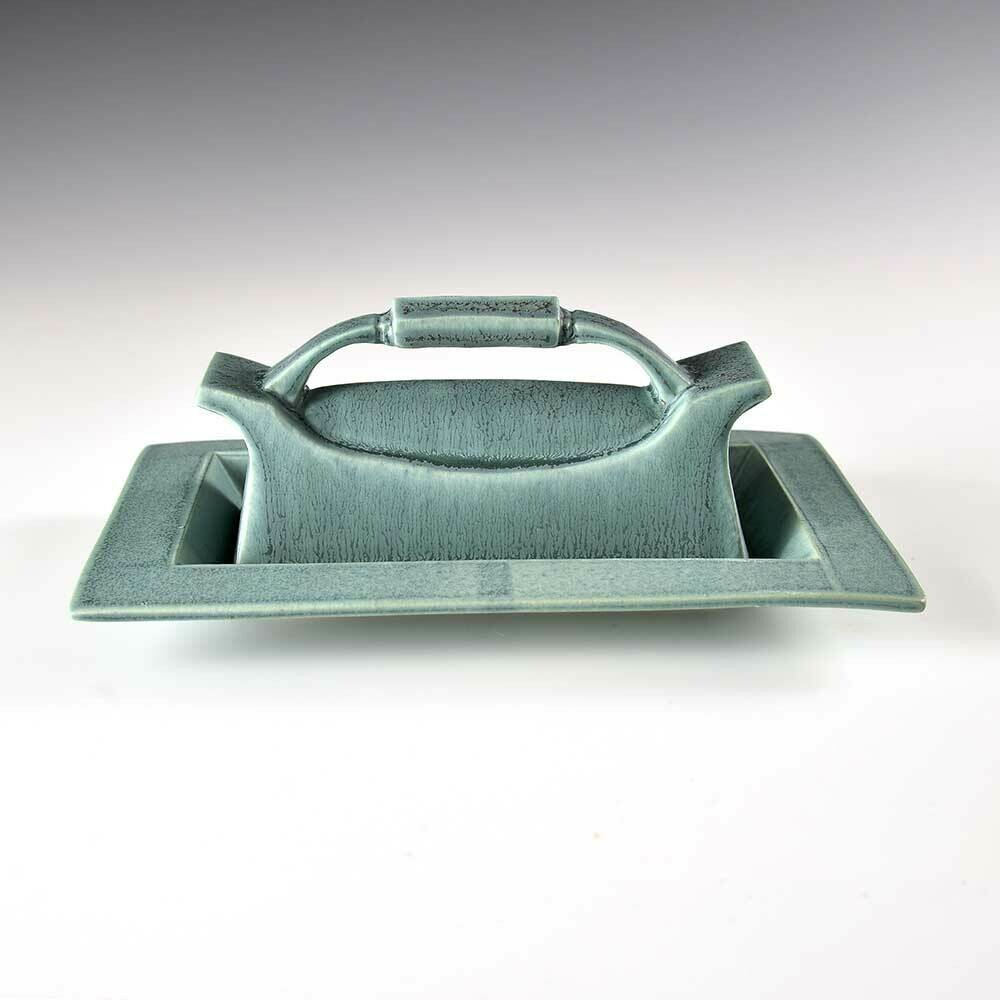 Butter Dish - Turquoise Glaze with a Classic-Crafted Handle Style.