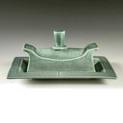 Butter Dish - Turquoise glaze with cascading detailing. Features a handsome Tapered Handle.