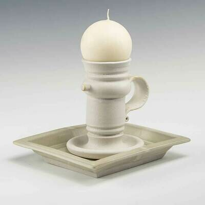 Candlestick all white glazes. Features