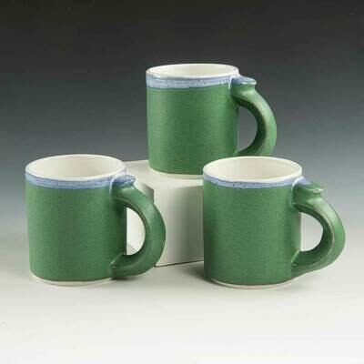 Mugs - Green Shorty-Style mugs with a beautiful forest-green glaze.