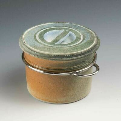 Stacking Jar - Recessed handle with stainless steel detailing. Stoneware on the potters wheel