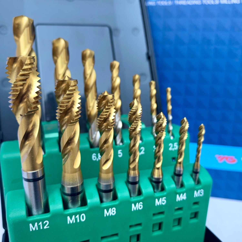 YG-1 HSS-E COMBO SPIRALFLUTE GOLD TAP & GOLD-P DRILL SET (M:3;4;5;6;8;10;12)