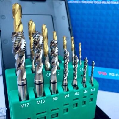 HSS-E COMBO SPIRALFLUTE TAP & GOLD-P DRILL SET (M:3;4;5;6;8;10;12)