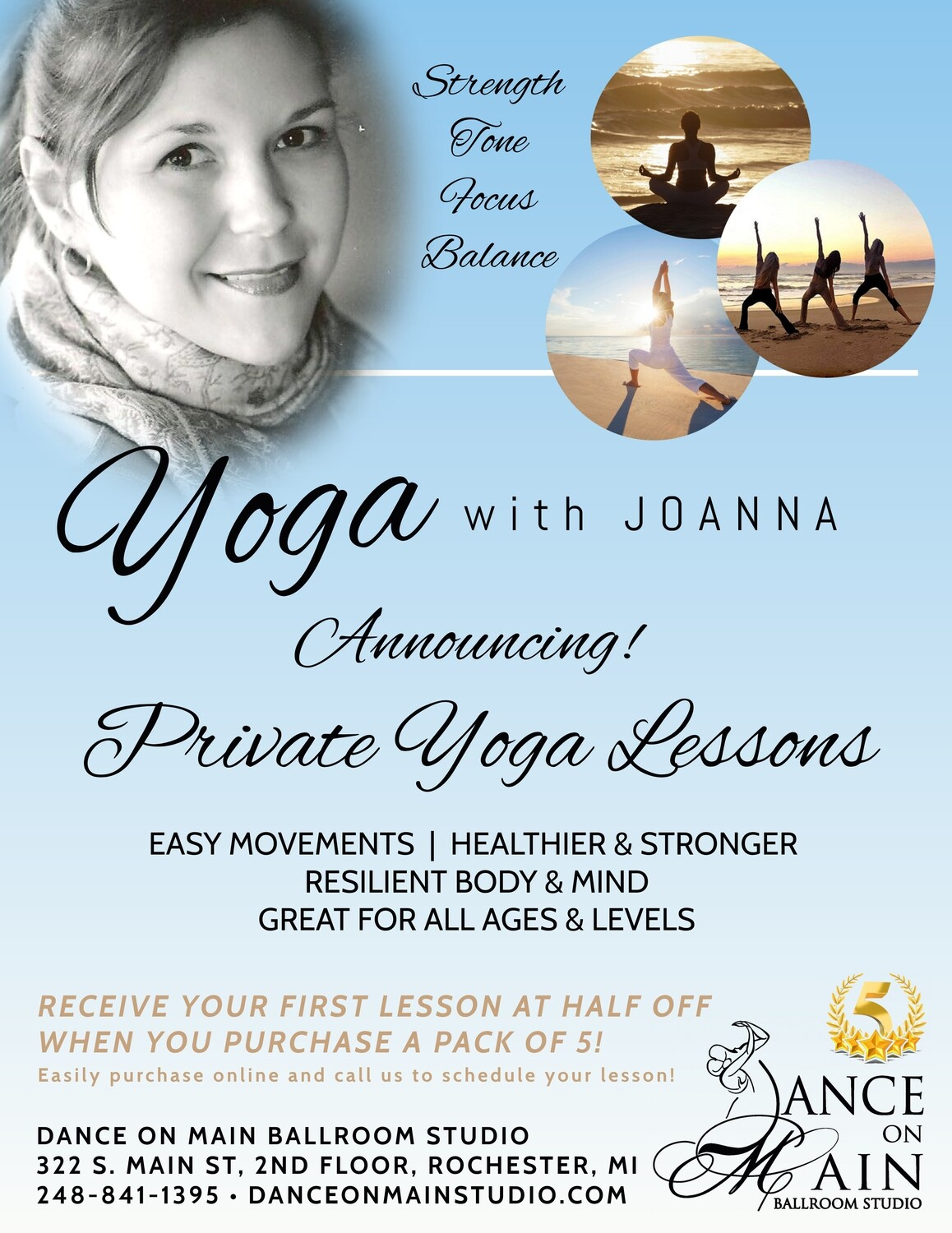 Private Yoga Lessons (5 pack)