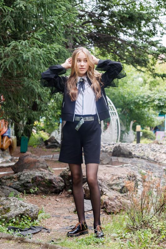 Юбка-шорты черный капитоний 2011108