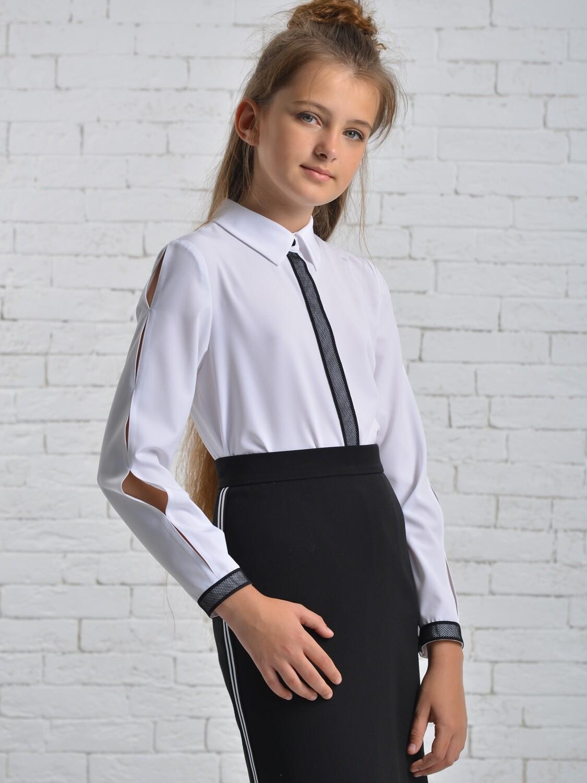 Блуза д/д белый с синим 001
