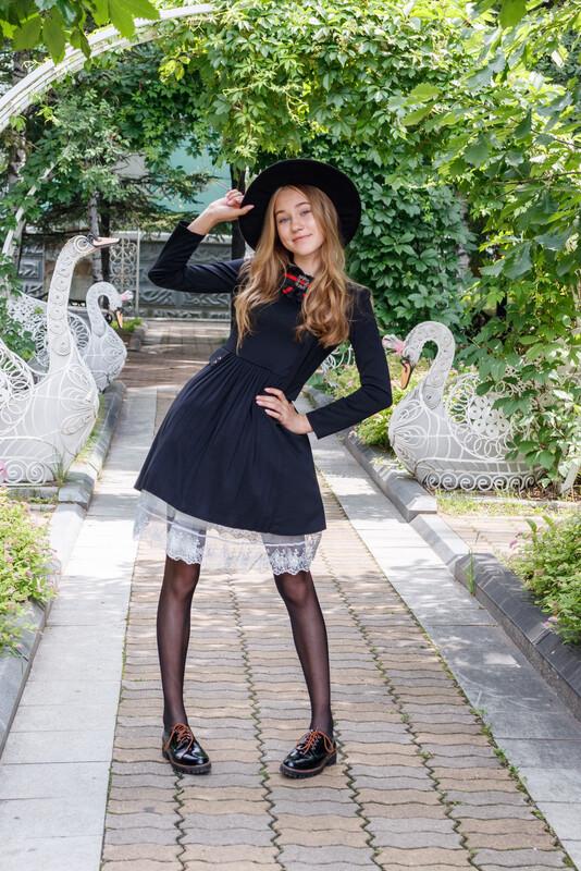 Платье детское черный 2Т57-1