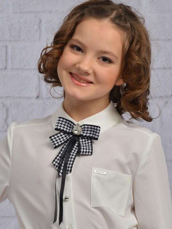 Блузочный галстук-брошь 209 (лапка черно-белая)