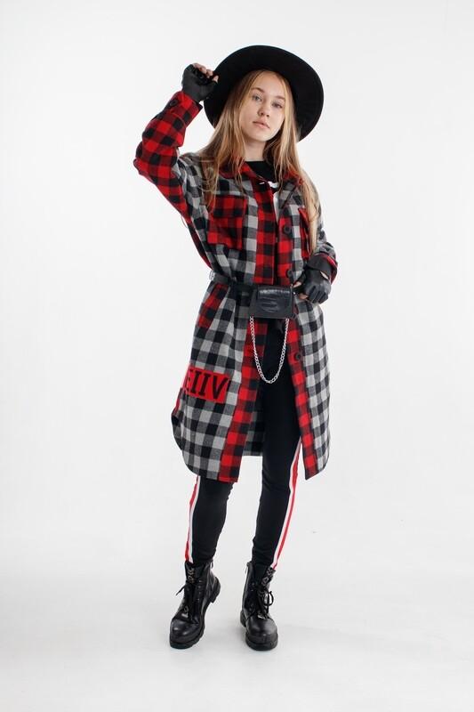 Пальто-рубашка крас-сер клетка MEG