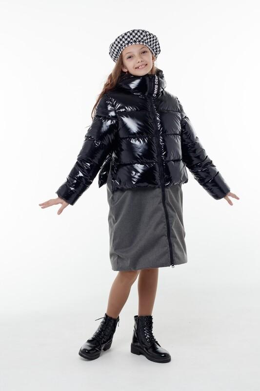 Пальто Орнелла черный/т.серый OB40993-02-ч