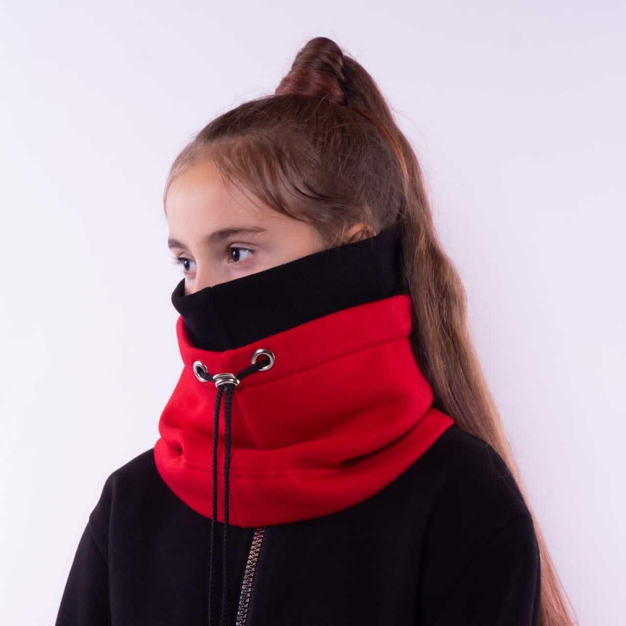 Шапка-снуд красный/черный 1510710-20-к