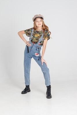 Полукомбинезон джинсы д/д синий 21034
