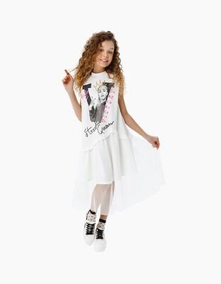 Платье д\д нарядное молочный 210223