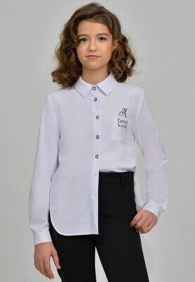 Блузка белый с синим 22-21