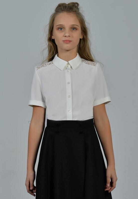 Блузка белый (+полнота) 61+П-21