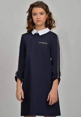 Платье синий (+полнота) 127+П-21