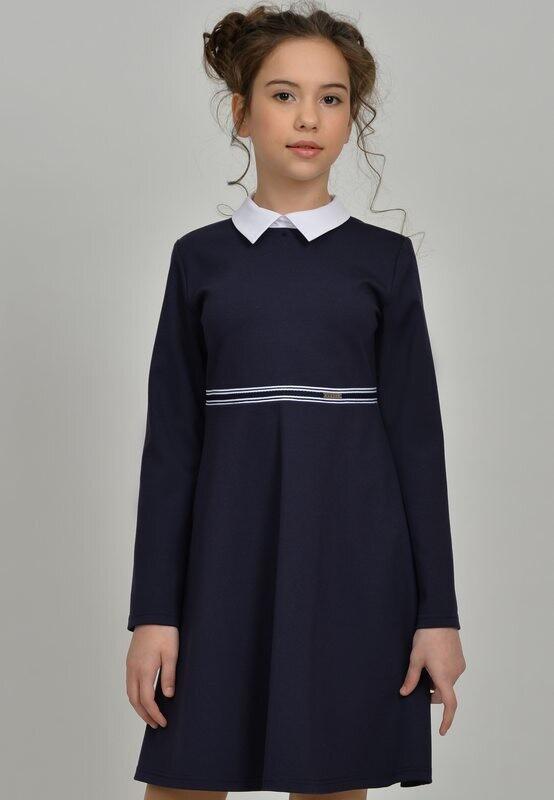 Платье синий (+полнота) 136+П-21