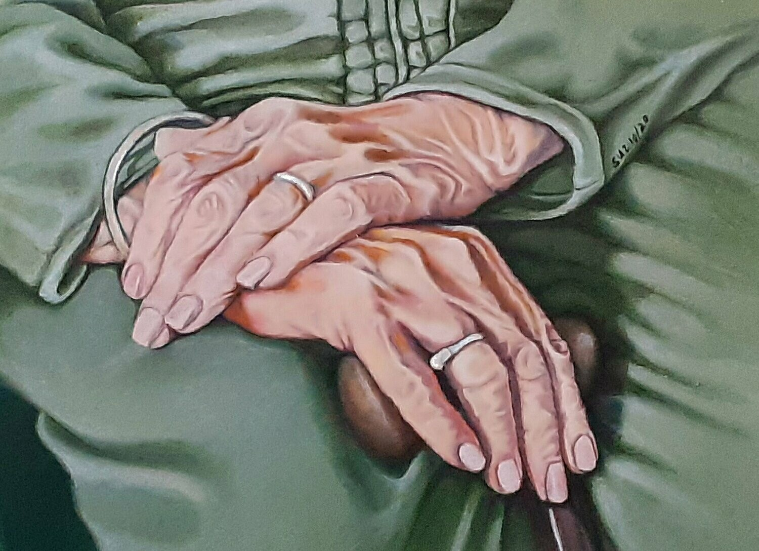 Hands with Walking Cane