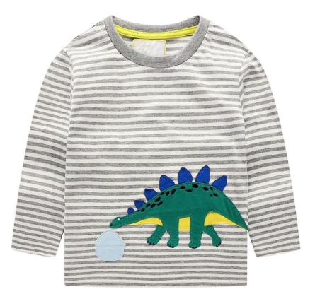 Playera Rayada Gris Dinosaurio