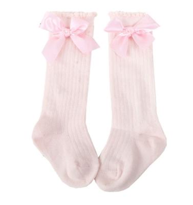 Calcetas Rayadas con Moño Rosa Claro