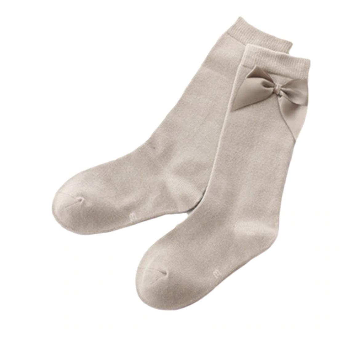 Calcetas Lisas con Moño Gris Raton