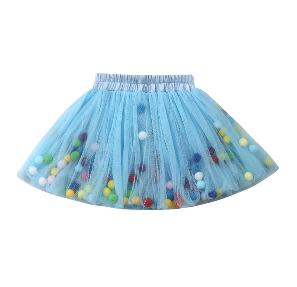 Falda Pom Pom Azul