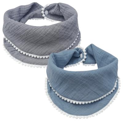 Set de 2 Bandanas de Muselina Azul Acero y Gris
